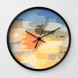 colorful painting abstract background in blue orange yellow pink and brown Wall Clock