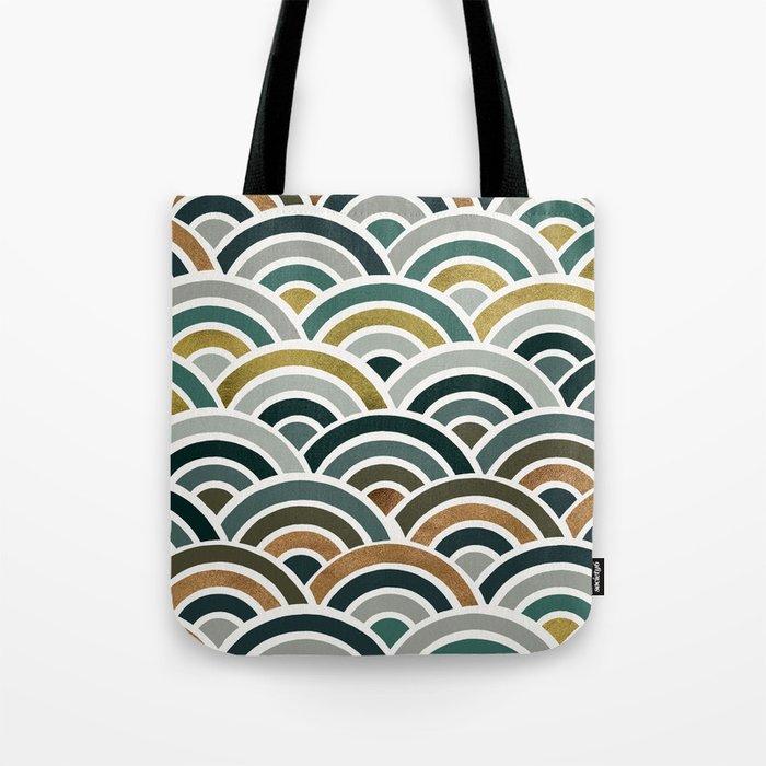 Japanese Seigaiha Wave – Teal & Bronze Palette Tote Bag