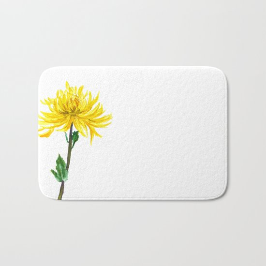one yellow chrysanthemum Bath Mat