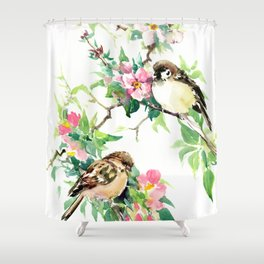 Sparrows and Apple Blossom, spring floral bird art Shower Curtain
