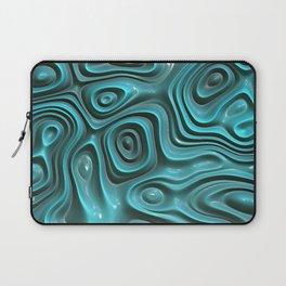 Teal Blue Turquoise 3D Swirls Waves Art Pattern Laptop Sleeve
