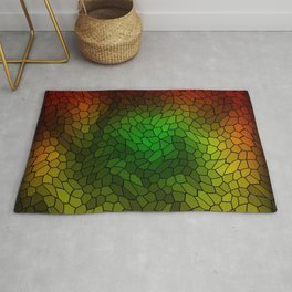 Volumetric texture of pieces of gold glass with a dark mysterious mosaic. Rug
