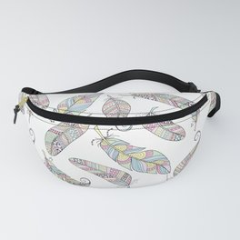 Pastel Doodle Feather Pattern Fanny Pack