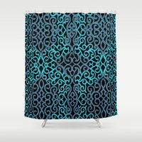 celtic Shower Curtains featuring celtic blue by Ariadne