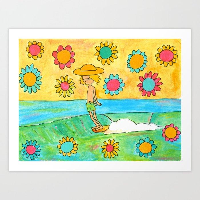 hang 10 groovy surf dude flower power Kunstdrucke