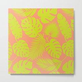 Tropical Leaves - Green on Coral Metal Print
