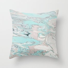 Marble - Mint Throw Pillow