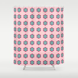 Lotus Flower Mandala, Coral Pink and Turquoise Shower Curtain