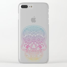 Color Me Day of the Dead Skull - Rainbow Clear iPhone Case