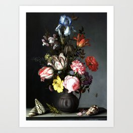 Flowers In A Vase With Shells And Insects Art Print