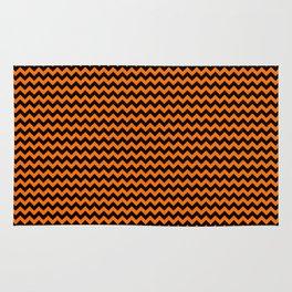 Small Pumpkin Orange and Black Halloween Chevron Stripes Rug