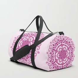 Pink Mandala on Baby Pink Background Duffle Bag