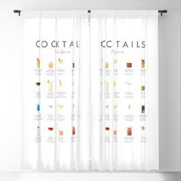 Cocktail Chart - Todays Specials Blackout Curtain
