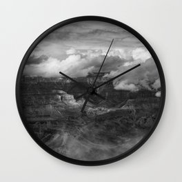 Canyon in Clouds bw Wall Clock