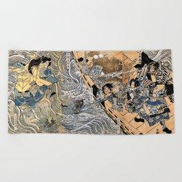 Kuniyoshi Utagawa, The ghost of Taira Tomomori, Daimotsu bay Beach Towel