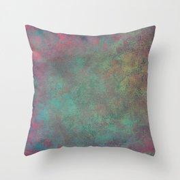 Grunge Garden Canvas Texture: Pink and Teal Baroque Throw Pillow