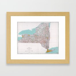 Map of the State of New York (1976) Framed Art Print