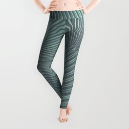 Tropical Palm Leaf Matte Teal Leggings