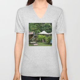 Fruit Stand in Tropical French Polynesia Unisex V-Neck