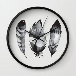 Monochrome bohemian feather set black-white boho watercolor animal illustration boho home wall decor Wall Clock