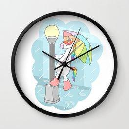 Unicorn Singin In The Rain Wall Clock