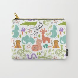 Zoo Pattern in Soft Colors Carry-All Pouch