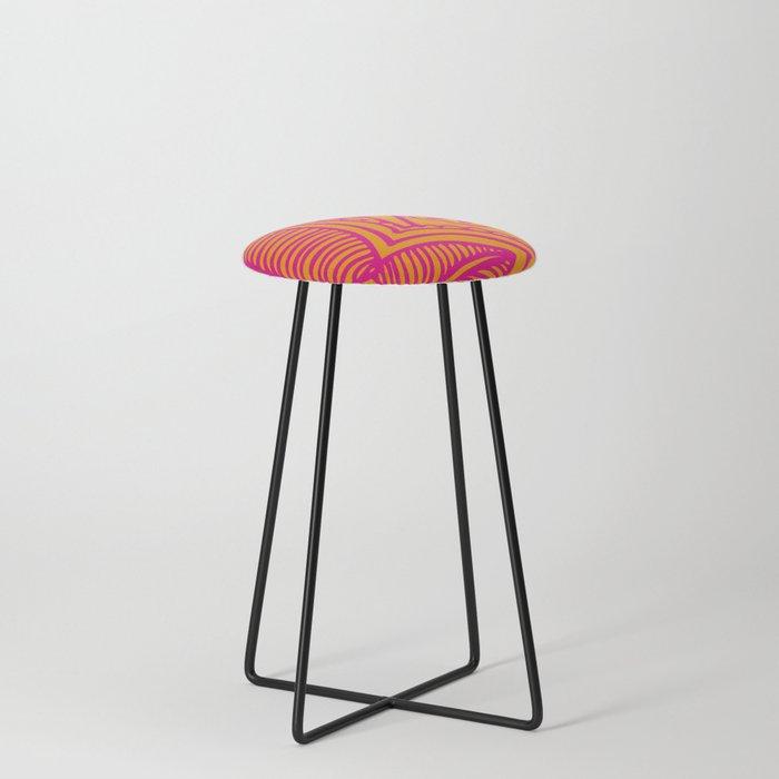 Floral Pattern | Tropical Flower Design | Pink | Orange | Counter Stool
