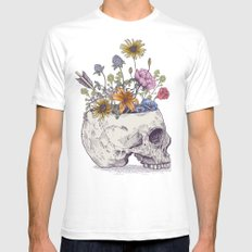 Half Skull Flowers Mens Fitted Tee LARGE White