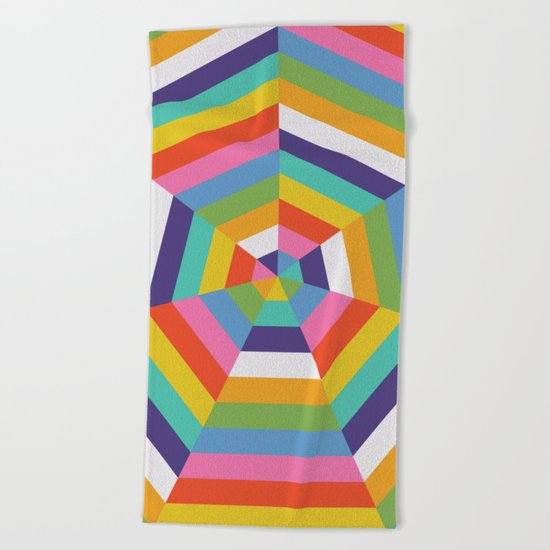 Heptagon Quilt 4 Beach Towel