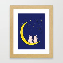 happy pair of pigs in love on the moon Framed Art Print