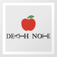death note Art Prints featuring Death Note Apple by Thomas Official