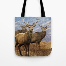 The four stags on the loch Tote Bag