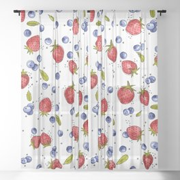 Strawberry, Blueberry, Mint Sheer Curtain