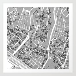 Cagliari Map Wall Art Art Print