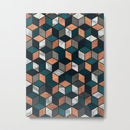 Copper, Marble and Concrete Cubes with Blue Metal Print