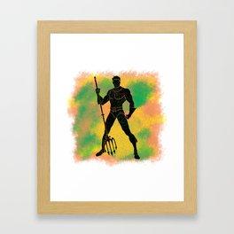 AquaMan Splatter Background Framed Art Print