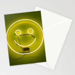 YELLOW SMILE NEON SIGN Stationery Cards