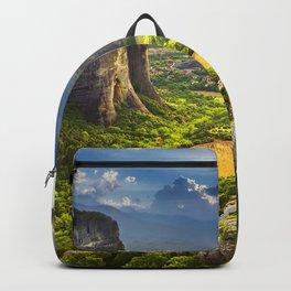Meteora mountains greek landmarks summer Greece Europe Backpack