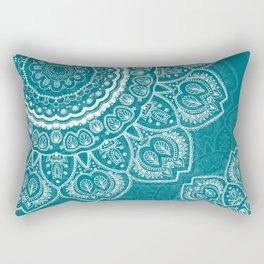 Mandala in White on Teal Rectangular Pillow