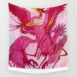 Birds red and very beautiful dance on the shore Wall Tapestry