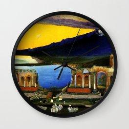 Sicily, Ruins of the Greek Theater at Taormina by Csontvary Kosztka Tivadar Wall Clock