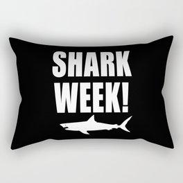 Shark Week, white text on black Rectangular Pillow