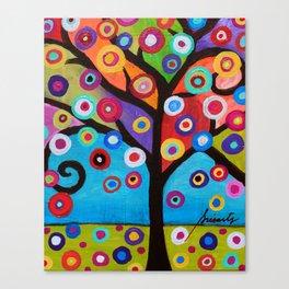 Whimsical Tree of Life Arbol la Vida Painting Canvas Print