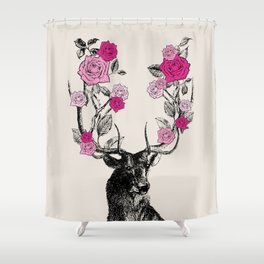 The Stag and Roses | Deer and Flowers | Pink | Vintage Stag | Vintage Deer | Antlers | Woodland | Shower Curtain