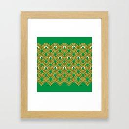retro sixties inspired fan pattern in green and orange Framed Art Print