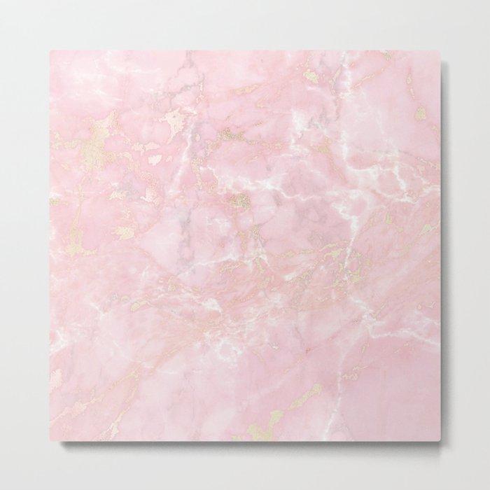 Rose Gold Metal Foil on Pink Marble  -  Summer Girl Metal Print