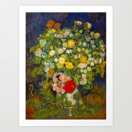 Bouquet of Flowers in a Vase Vincent van Gogh Oil on canvas 1890 Art Print
