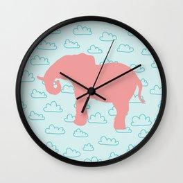 Pink Elephant and clouds , nursery decor Wall Clock