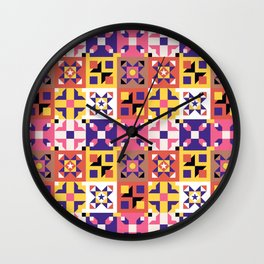 Maroccan tiles pattern with pink and purple no3 Wall Clock