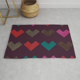 leather geometric love on dark purple Rug